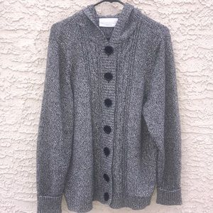 Chunky Knit Marled Cardigan with Hoodie